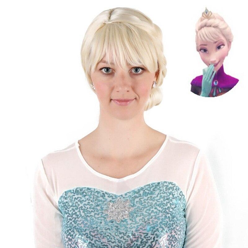 New Frozen Princess Elsa Blonde Adult Weaving Braid Halloween Cosplay Party Wig