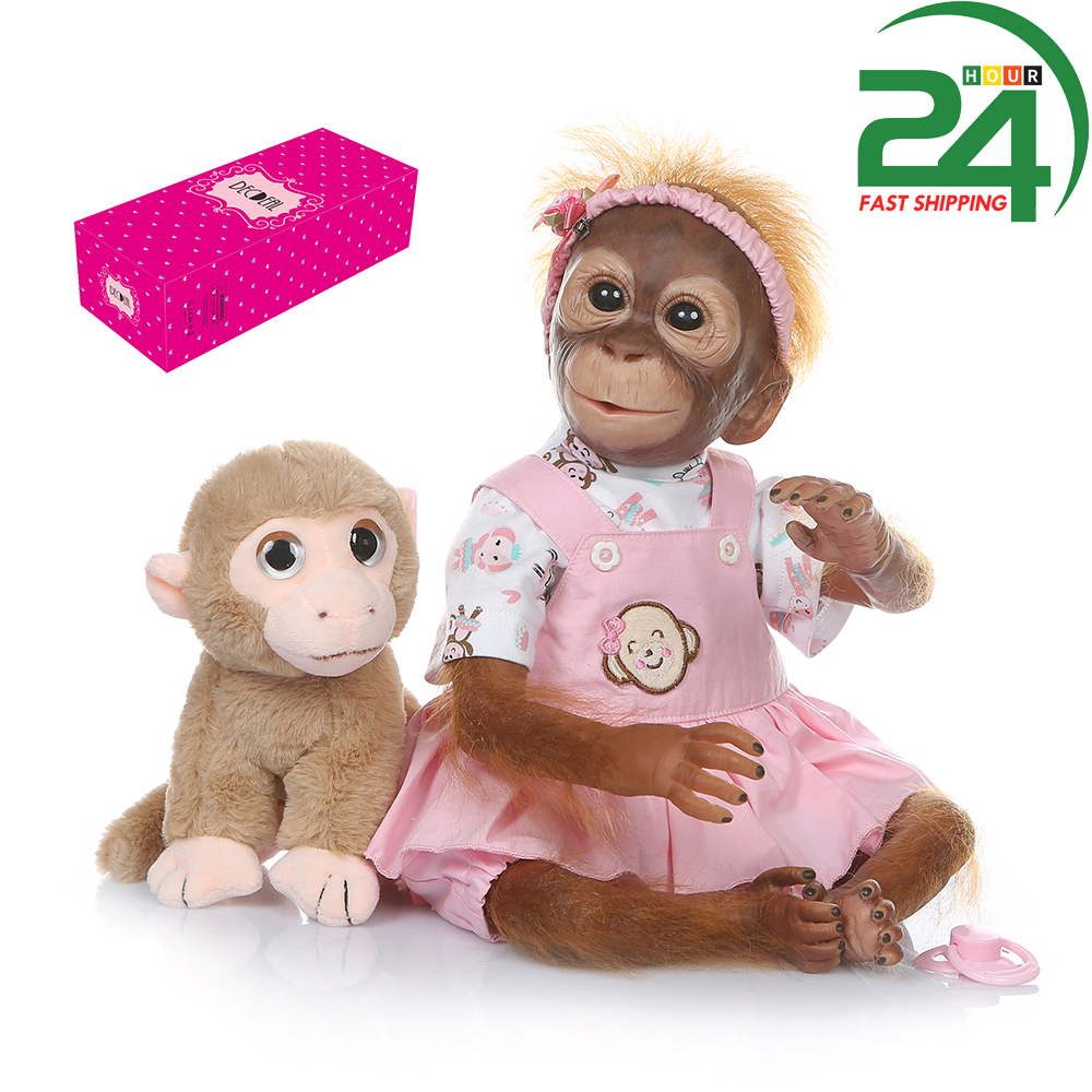 52cm Realistic Baby Monkey Doll Reborn Baby Monkey Decdeal Soft PP cotton Real Skin TouchHandmade Dolls with Real Baby Clothes