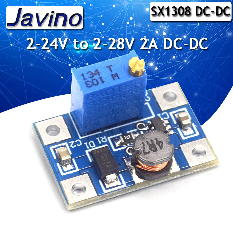 Sx1308 DC-DC adjustable boost stabilized voltage power module high current 2A 2-24V to 2-28V boost power board