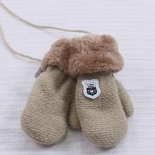 Милые кашемировые перчатки для мальчиков и девочек, зимние теплые тянущиеся вязаные варежки из толстого плюша с искусственным мехом, guantes luvas de inverno, новинка