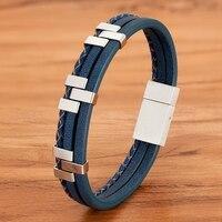Accesorios de costura de tres capas para hombre, pulsera de cuero de acero inoxidable, diseño avanzado, regalo, Color negro, marrón y azul