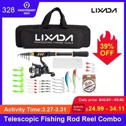 Lixada телескопическая катушка для удочки, полный комплект, Удочка + спиннинговая катушка + рыболовные крючки с сумкой для vara de pesca