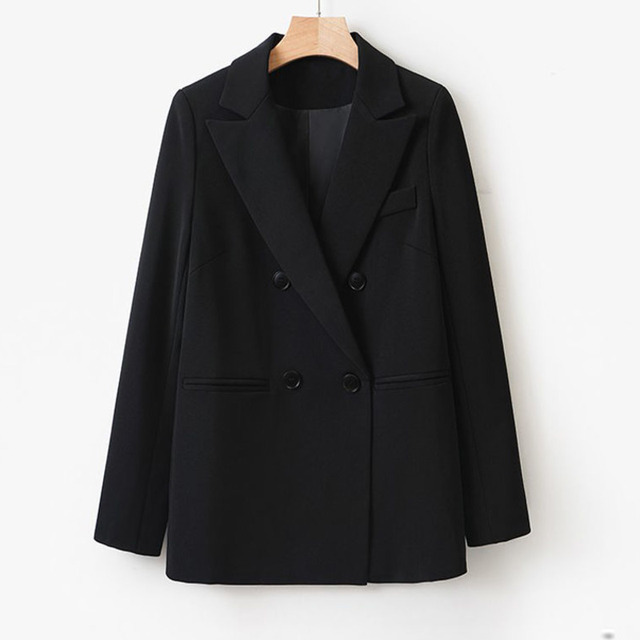 Spring Autumn Fashion Women Black Blazer Long Sleeve Pocket Double Breasted Office Ladies Business Coat Female Retro Suits 4