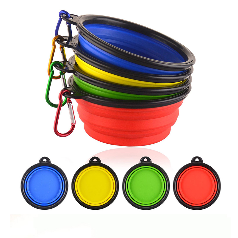 1PC Silicone Dog Bowl Silicone Folding Outdoor Travel Bowl Dog Cat Food Feeding Water Dog Bowl Dog Toy Flying Saucer  Training
