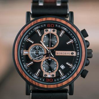 BOBO BIRD ساعة خشبية للرجال أفضل ماركة موضة فاخرة كوارتز ساعة اليد كرونوغراف بمؤرخ أتوماتيكي ساعة صديق هدية عظيمة reloj hombre 1