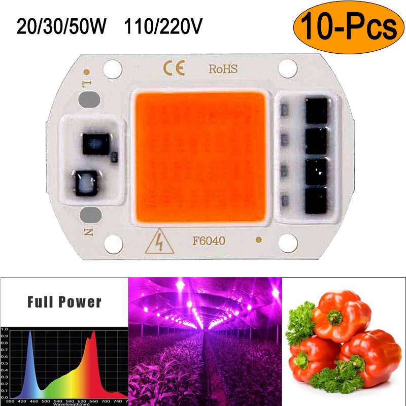 5/10Pack 20/30/50W Voll Spektrum <font><b>LED</b></font> <font><b>COB</b></font> <font><b>Chip</b></font> Anlage Wachsen Licht Integrated Smart IC Fahrer Licht 110/220V image