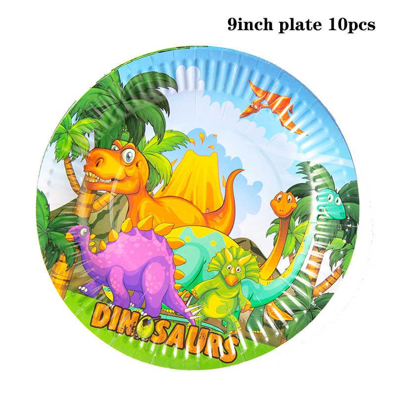 Kleur Dinosaurus Thema Party Wegwerp Servies Papier Plaat Cup Servet Banner Tafelkleed Baby Shower Kids Birthday Party Decor