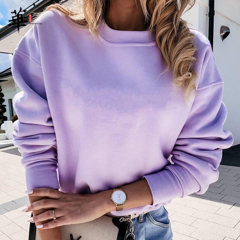 Basic Hoodies Women Sweatshirt Solid Colour Streetwear Women Hoodie Female Pullover Spring Autumn Casual Women Sweatshirts Tops 1