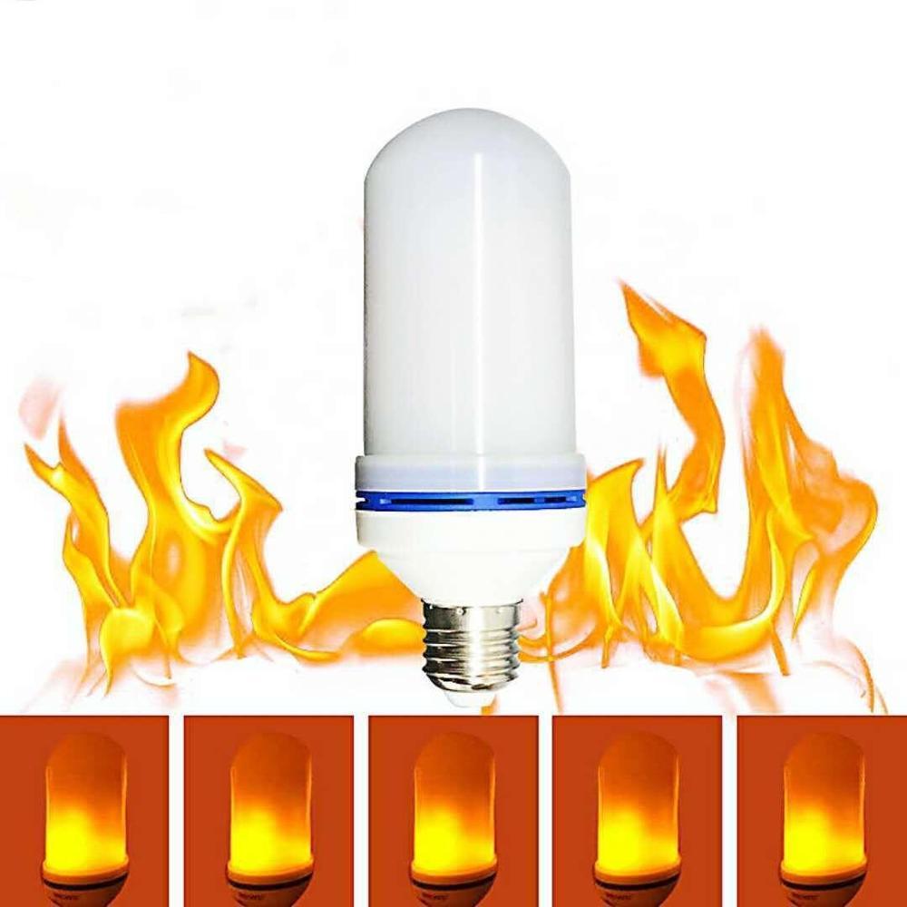 108 светодиодов E27 лампы пламени 20 Вт 85-265 в 4 режима ампулы LED эффект пламени лампочка Мерцающая эмуляция огонь свет желтый/синий пламя