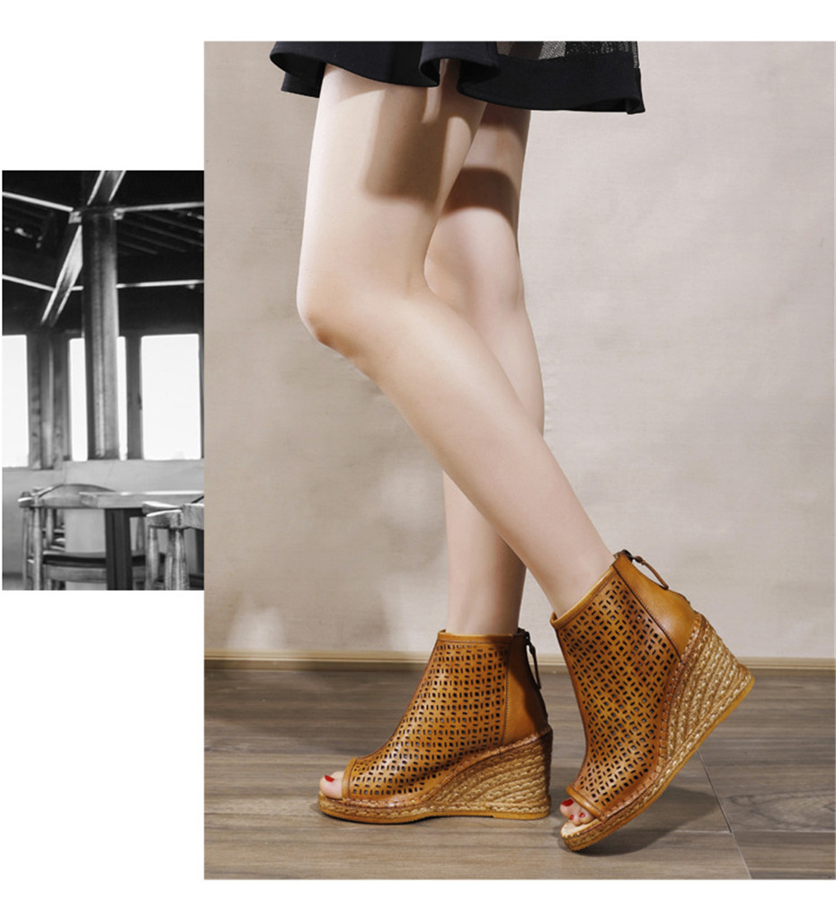 Spring Summer 2020 New Women Wedges Sandals Genuine Leather Peep Toe Hollow Woven High Wedge Heels Shoes Woman High-Top Sandals (16)