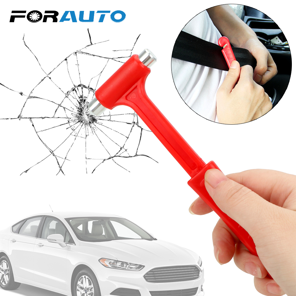 FORAUTO Car Safety Hammer Car Safety Escape Glass Window Breaker Seat Belt Cutter Emergency Hammer Life-Saving Car Accessories image