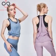 New Fake Two-piece Sports Vest Woman Hollow Fitness Running Breathable Sportswear Sleeveless Crop Top Women Sexy Yoga Top P358 two tone sleeveless crop top