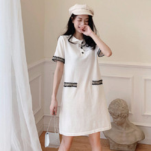 2020 new small fragrant polo dress women's summer short sleeve medium long small first love French Platycodon skirt Plus Size(China)