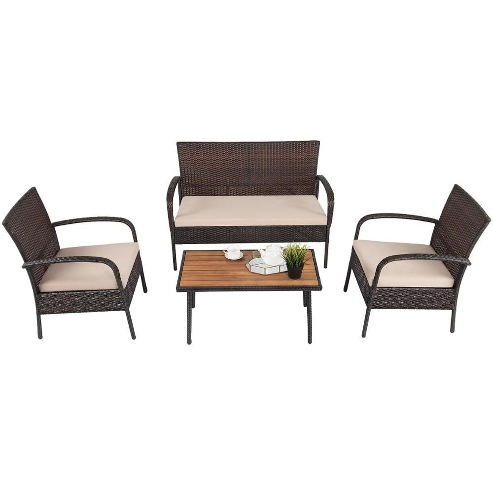 4pcs patio rattan furniture set outdoor conversation set coffee table w cushions hw66527