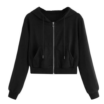 Spring 2020 Casual Hoodie Zipper Long Coat Sweatshirt Women Zip Up Loose Oversized Jacket Coat Women Hoodies Outwear Tops 9
