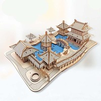 wooden 3D building model toy puzzle woodcraft construction kit wood garden of suzhou ancient Chinese architecture build gift 1pc
