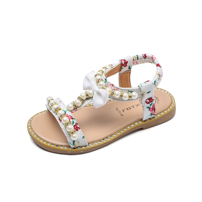 Hot Summer Girls Beach Sandals Children Toddler Kids Girls Pearl Sandals Cute Bow Girls Princess Shoes Size 21-30