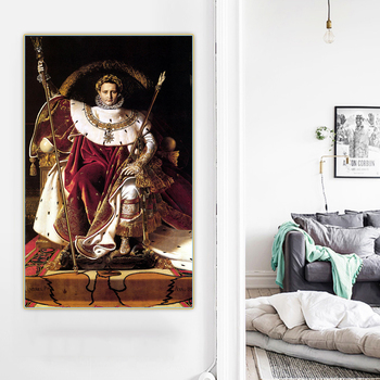 Citon Ingres《Emperor Napoleon I On His Imperial Throne》Canvas Oil Painting Artwork Picture Background Wall Decor Home Decoration image