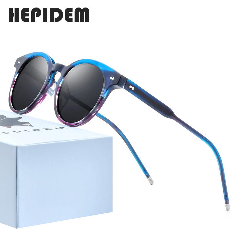 HEPIDEM Acetate Polarized Sunglasses Women 2020 Brand Designer High Quality Retro Vintage Round Sun Glasses For Men 9127 Fonex