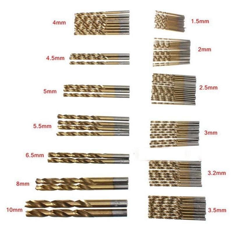 Big Deal 50 Pcs Titanium Coated High Speed Steel Drill Bit Set Tool 1/1.5/2/2.5/3mm