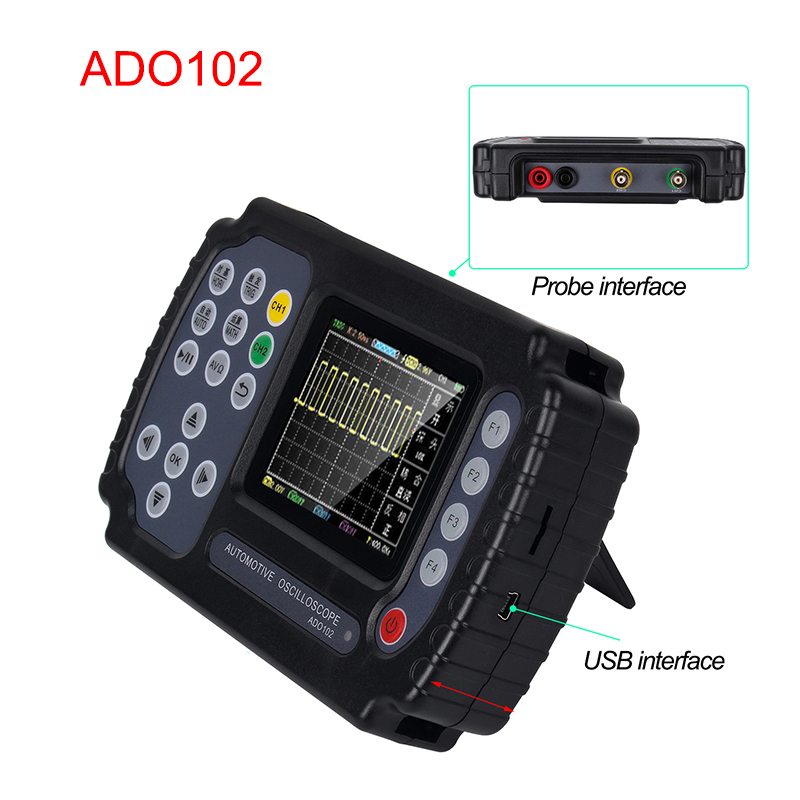 Newest ADO102 Portable Professional Automotive <font><b>Oscilloscope</b></font> <font><b>10MHz</b></font> Bandwidth Dual Channels 100MSa/s Sample Rate Car Repair Tools image