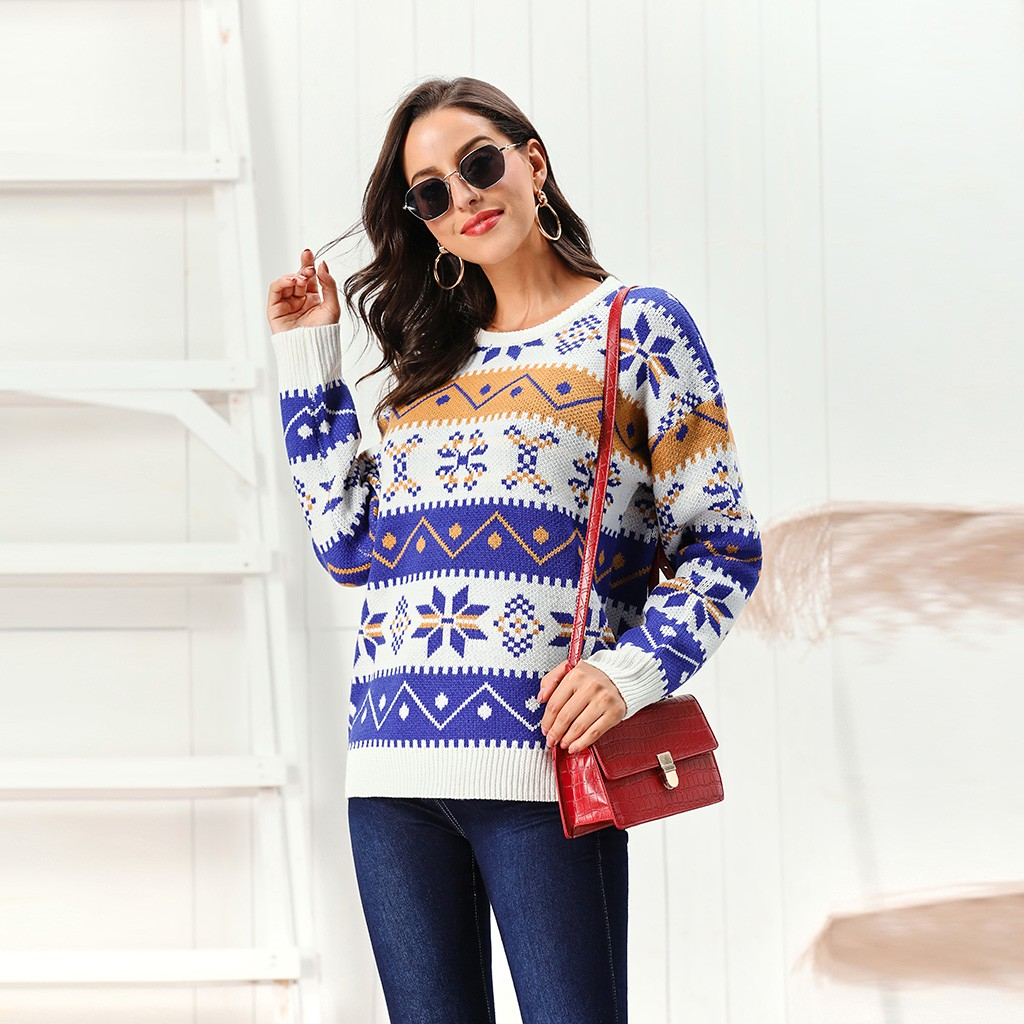 Winter Fashion Jacquard Women Sweater Crew Neck Pullovers Ugly Christmas Woman Jumpers Snowflakes Elk Pattern Female Tops White