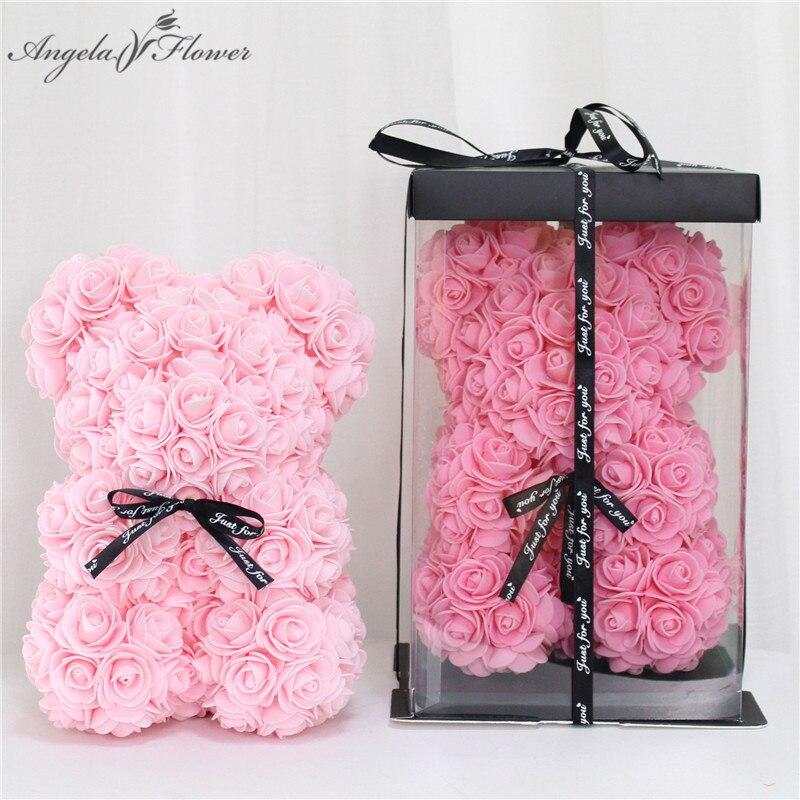 Rosa urso 25cm artificial teddy rosa urso artesanal flor urso de rosas para o dia dos namorados feminino casamento bithday presente