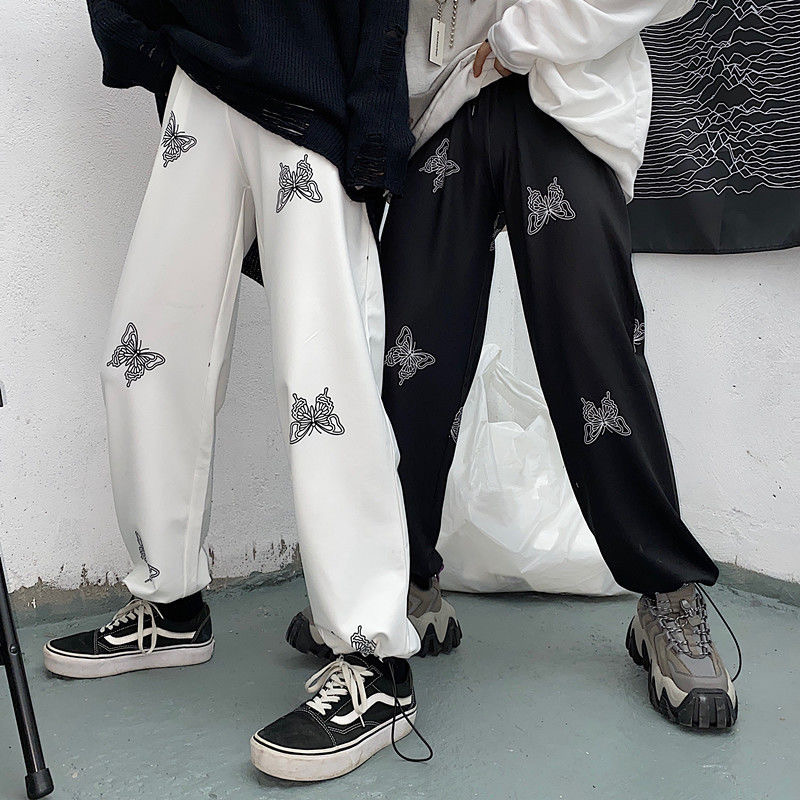 Summer Butterfly Print Loose Pants Women New Fashion High Waist Streetwear Trousers Plus Size Feamle Casual Wide Leg Pants