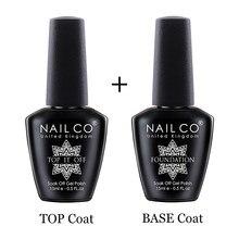 NAILCO taban ve pardösü jel oje 15ml UV LED lamba yarı Vernis kalıcı Nail Art kapalı islatın hibrid vernikler