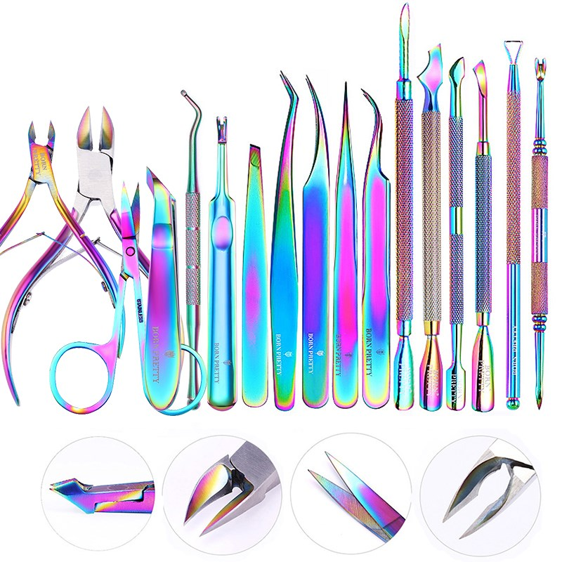 BORN PRETTY Nail Clipper Cutter Stainless Steel Rainbow Tweezer Clipper Dead Skin Remover Edge Cutter Scissor Plier Manicure
