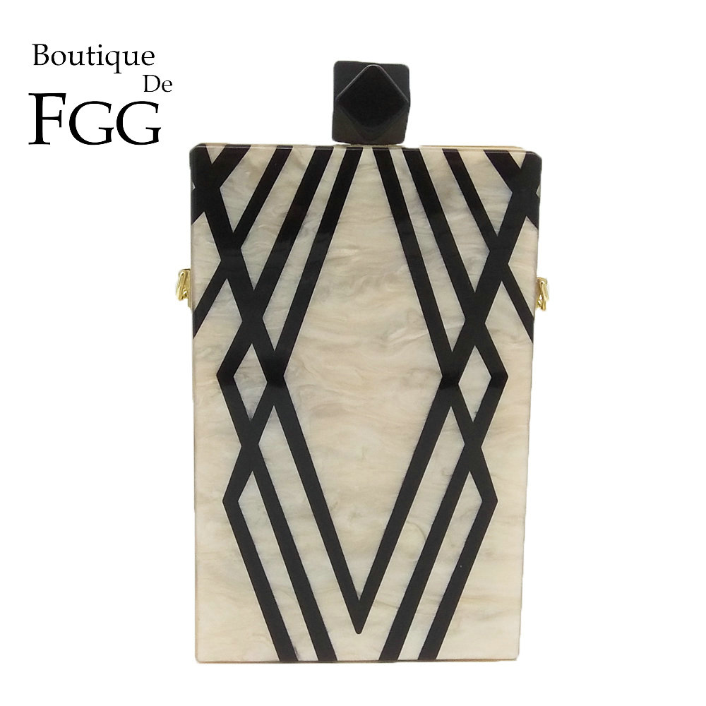 Женская вечерняя сумочка Boutique De FGG, акриловая сумка через плечо с геометрическими полосками и цепочкой, клатч в жестком чехле