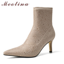 Meotina Short Boots Women Shoes Rhinestone High Heel Ankle Boots Pointed Toe Stiletto Heels Stretch Boots Female Black Apricot krazing pot high street fashion bling diamond crystal mesh ankle summer boots high heels stiletto gorgeous pointed toe shoes l89