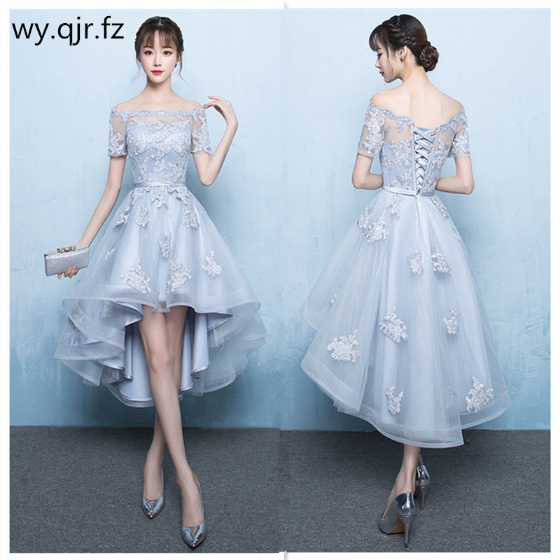 YNX120# Off Collar Bridesmaid Dresses Front Short Rear Length Gary Burgundy Champagne Embroidery Wedding Party Dress Wholesale