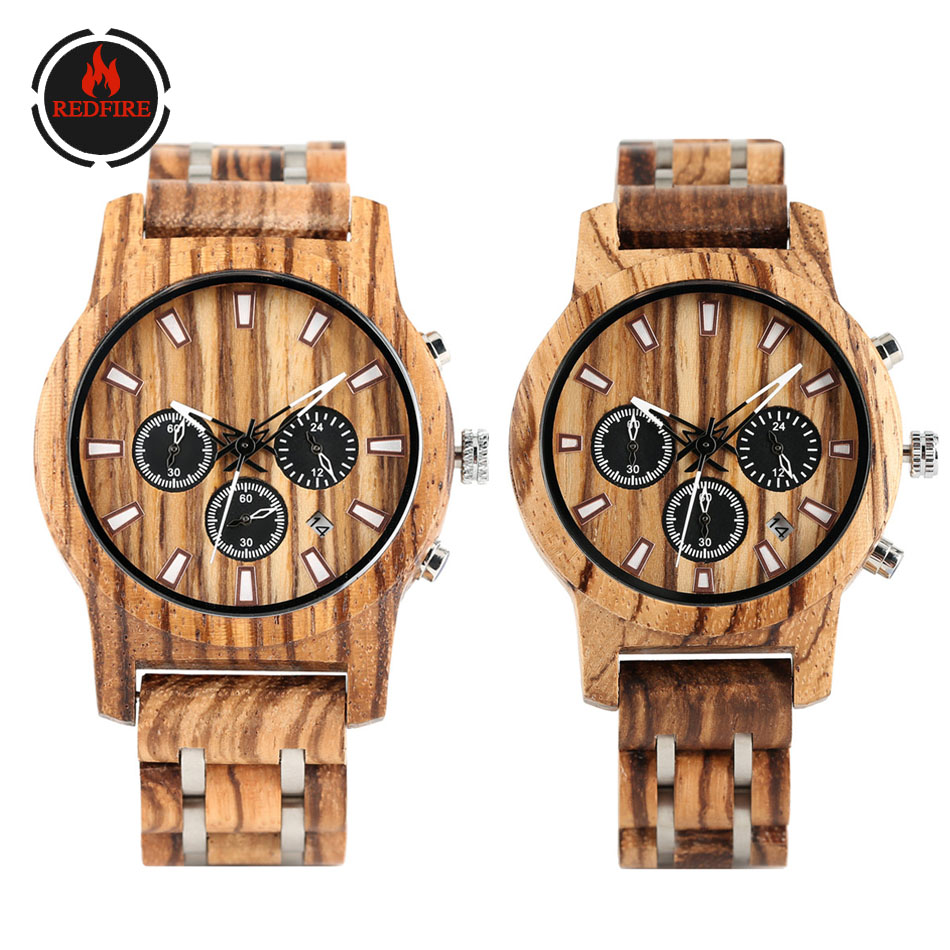 REDFIRE Zebrawood Couple Watch Luxury Stainless Steel Wood Band Chronograph Calendar Dial Lovers' Wood Clock Reloj De Pareja