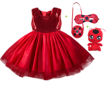 Carnival 2020 cosplay girl dress summer clothes red bug party dress children's day bud silk gauze stitching baby girl dress carnival red bug halloween cosplay costume princess flower girl dress summer tutu wedding birthday party red bug kids dresses