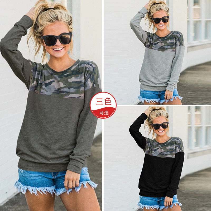Long Sleeve O-Neck Casual Wmen T-Shirts 2019 New Autumn Camo Print Patchwork Tops Tees Female Plus Size Loose T-Shirt Pullovers