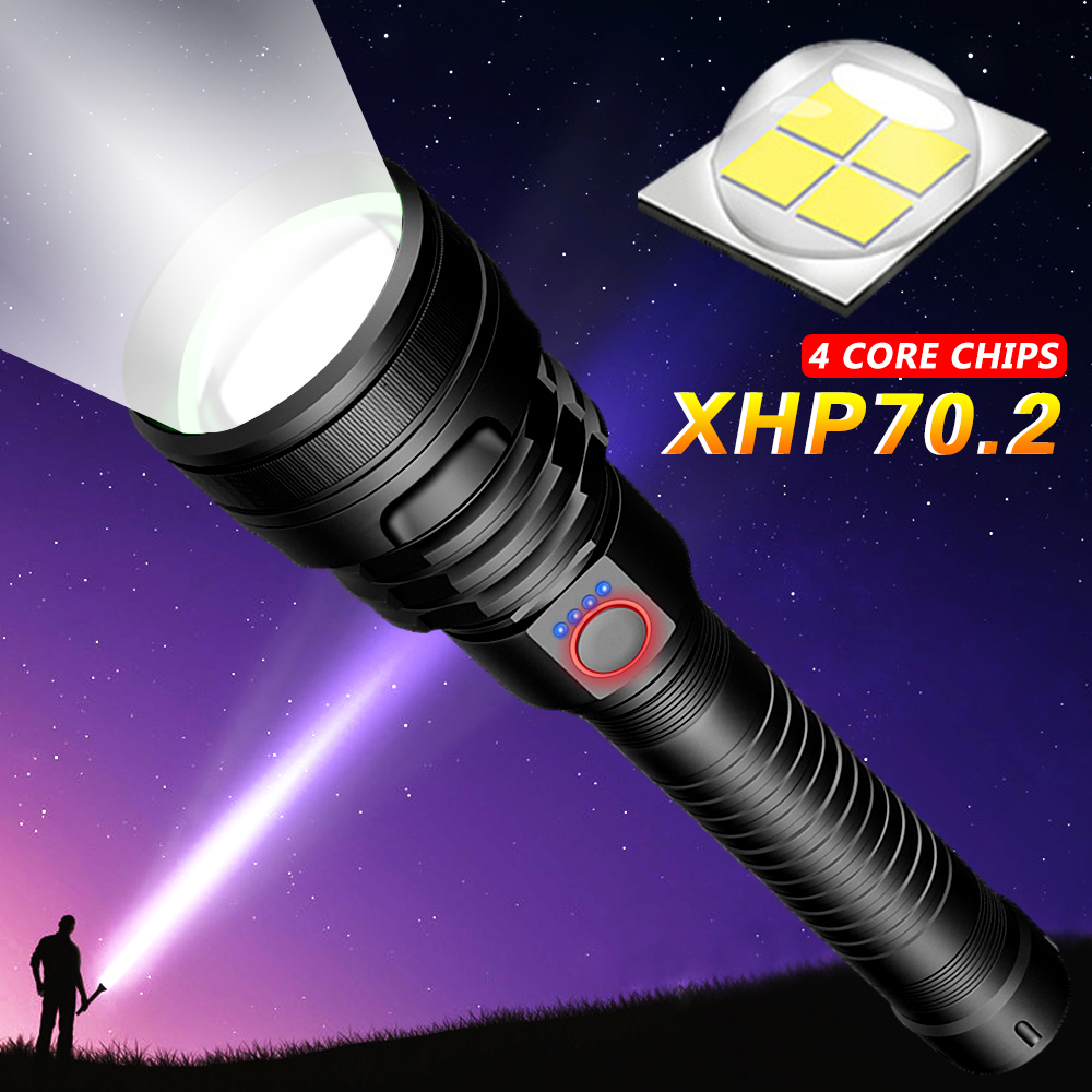 Most Powerful LED Flashlight USB Rechargeable Torch XHP50 XHP70 Hand Lamp 26650 18650 Battery Flash Light