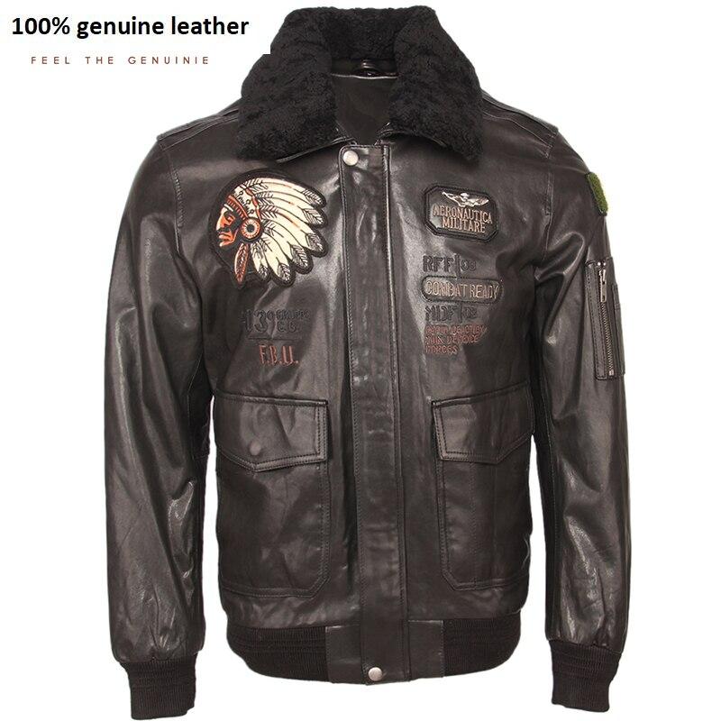 Embroidery Men Genuine Leather Jacket 100% Tanned Sheepskin Fur Collar Flight Bomber Jacket Military Pilot Skin Coat Autumn M438