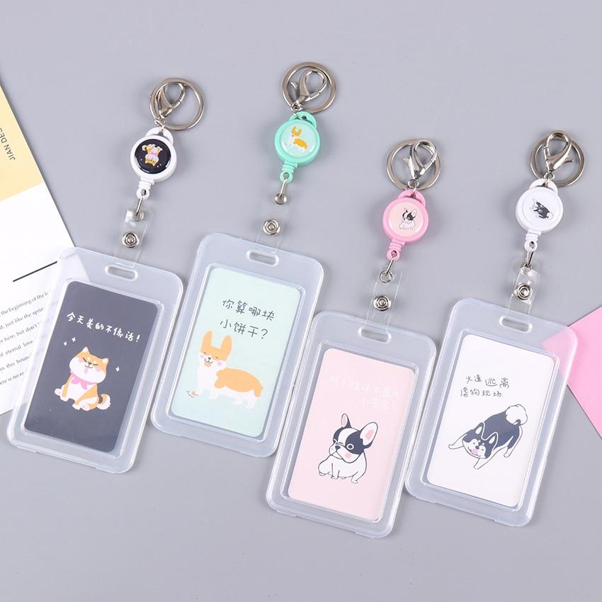 Cute Telescopic Transparent ID Card Holder Student Cartoon Keychain Card Protection Set PVC Acrylic Clear Business Card Case