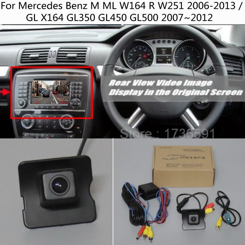 Para mercedes benz m ml w164 r w251 2006-2013 gl x164 gl350 gl450 gl500 rca & tela original compatível hd câmera de visão traseira do carro
