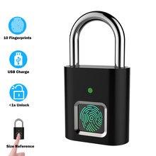 HISMAHO-candado de huella dactilar inteligente, impermeable, recargable por USB, antirrobo, Mini cerradura eléctrica para estuche de equipaje