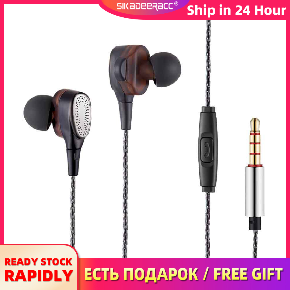 Heavy Bass Wired Earphone Gaming Music Headset Dual Driver Fashion In Ear 3.5 Plating Jack Hifi Mic For iPad Tablet Mobile Phone