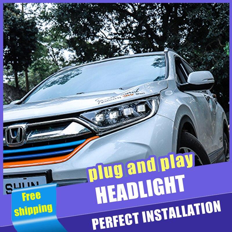 2 pièces voiture Style LED phares pour Honda CRV 2017-2019 pour CRV lampe frontale LED DRL lentille Double faisceau H7 caché xénon bi xénon lentille
