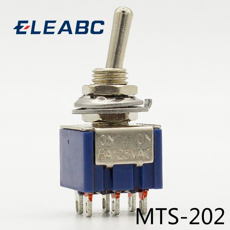 5 шт./лот MTS-202 темно-синий 6-контактный DPDT ON-ON Mini 6A125VAC миниатюрные переключатели