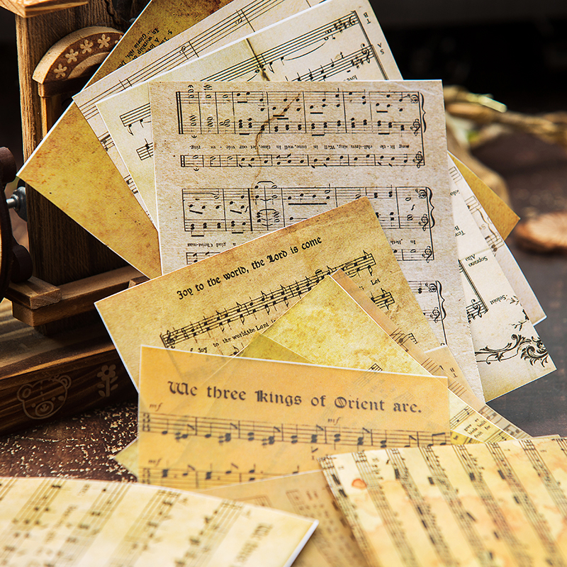 16pcs/Bag Vintage English Music Sheet Vellum Paper Pattern Pack For Scrapbooking Happy Planner Card Making Junk Journal Project