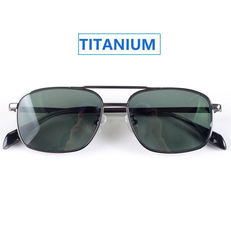 Chic Pure Titanium Sunglasses HD Polarized CR39 Lenses G18 Dark Green Pilot Style Women Men