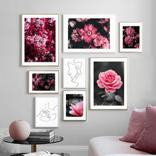 Wall Art Canvas Painting Fresh Pink Rose Flower Line Drawing Face Nordic Posters And Prints Pictures For Living Room Decor