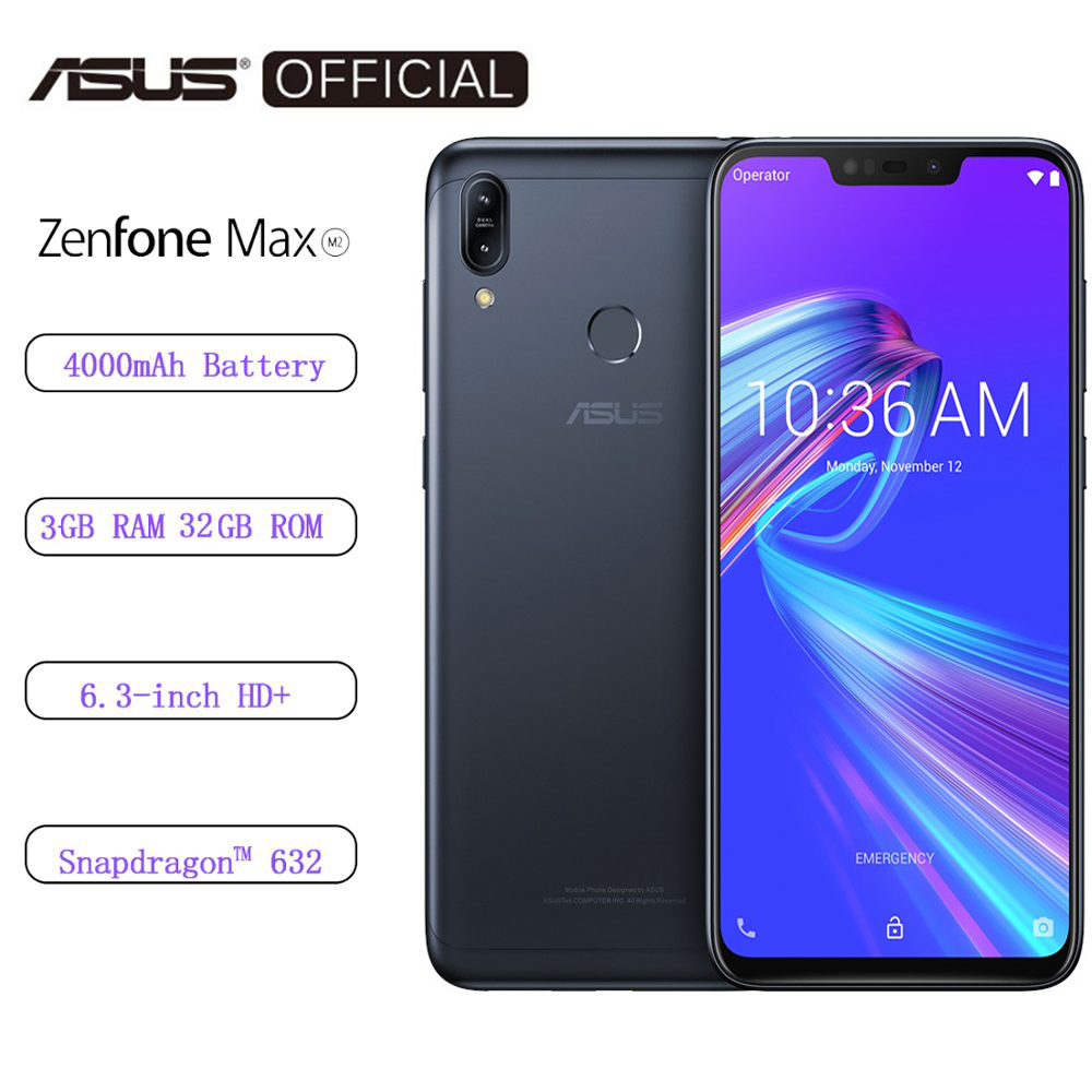 Global ASUS Original Zenfone Max M2 3GB RAM 32GB ROM 4000mAh Quick Charging Snapdragon 632  Android Oreo