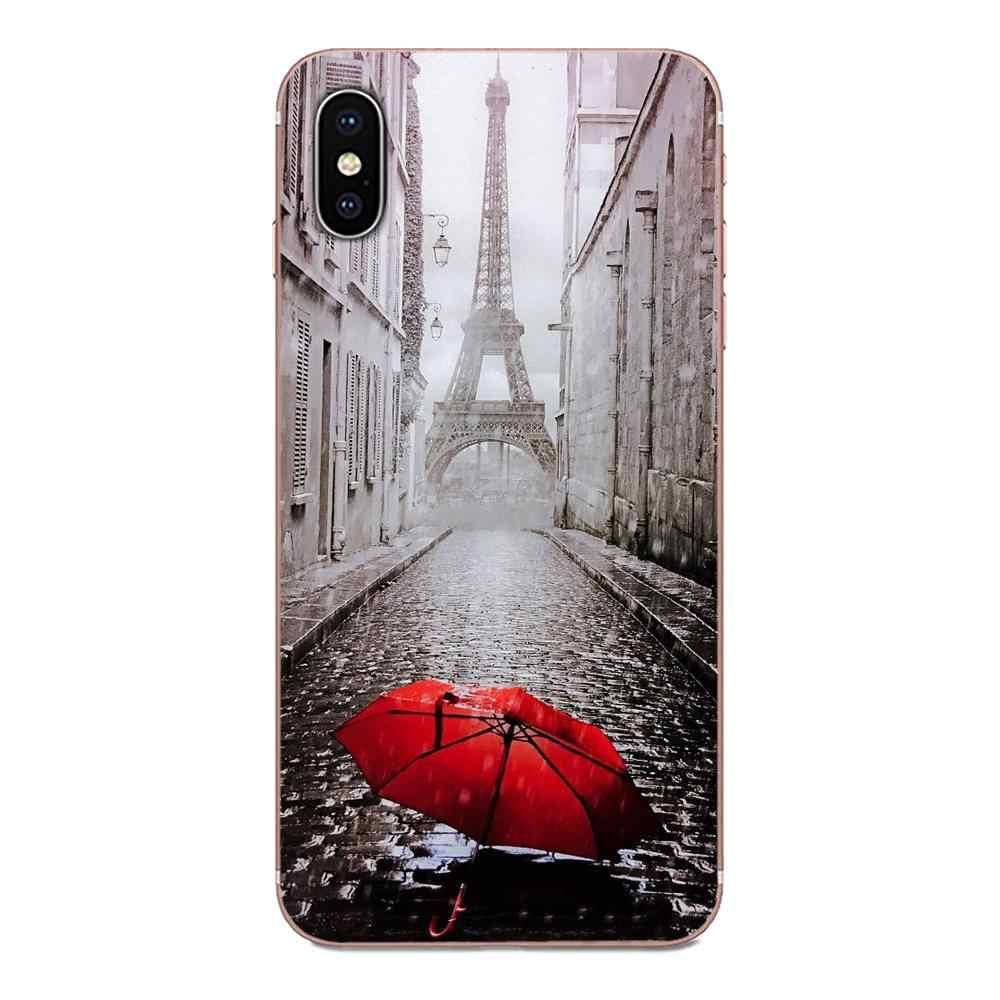 Piel delgada funda móvil paraguas rojo y Panda lindo para Motorola Moto G G2 G3 G4 G5 G6 G7 Plus