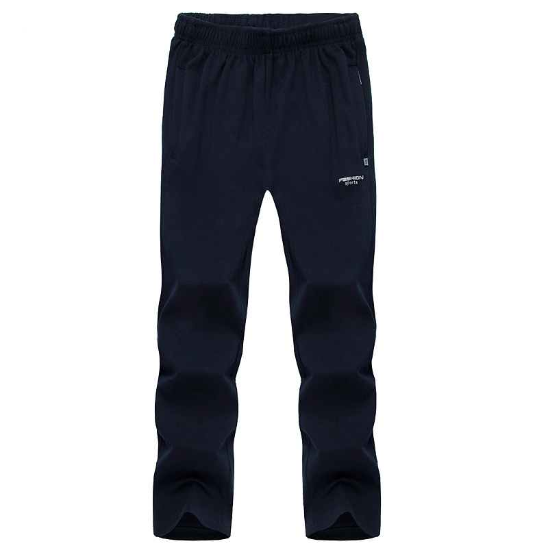 new men's casual pants custom Logo mens black jogging bottoms loose track pants joggers with zip pockets title=